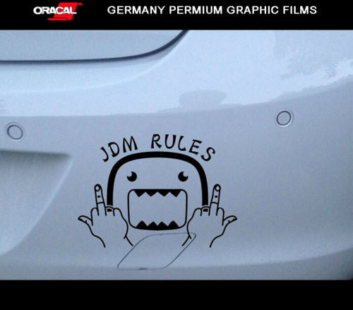 Domo kun middle fingers F*ck JDM RULES Fresh Dub Decal Sticker