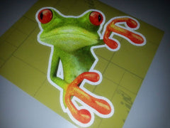 Peeking Frog Funny forest Drive Off-Road 4x4 Car Decal Sticker - Reflective