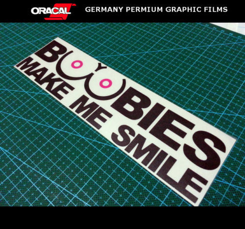 BOOBIES MAKE ME SMILE Funny Bumper JDM decal sticker