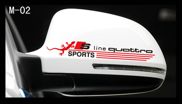 Pair Of Audi S LINE Germany S4 A4 A5 A6 R8 RS7 TT Quattro Sports mirror Sticker