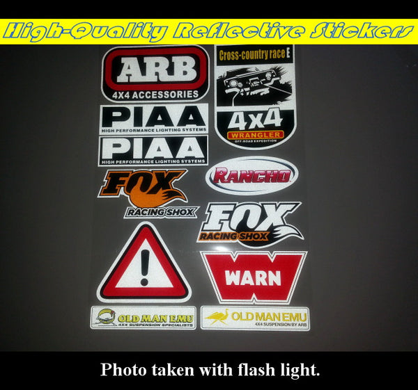 11 Pics ARB PIAA 4X4 Cross-country Off Road Jeep WRANGLER Car decal Reflective Sticker Set