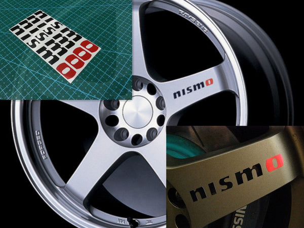 4X Nismo Wheel Sticker decal Nissan skyline silvia GTR Rays Volk (Black & Red / White & Red)