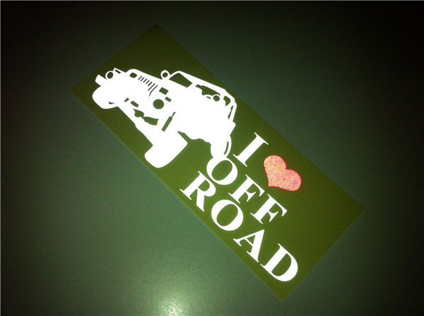 I Love Off Road Jeep decal Reflective Sticker