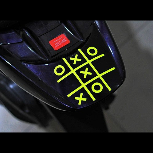 Tic Tac Toe Funny Game Motorcycle decal Sticker