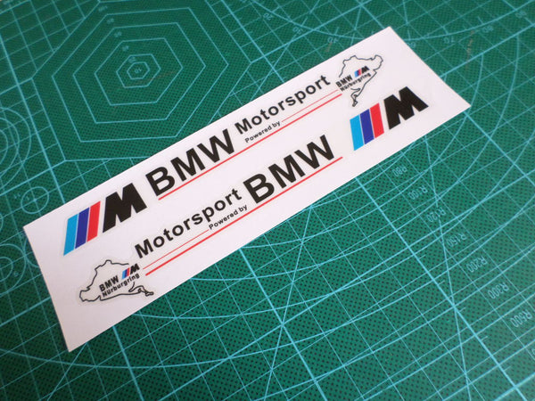 A Pair BMW M Power Powered By Motorsport Nurburgring M3 M5 X5 Mirror Sticker