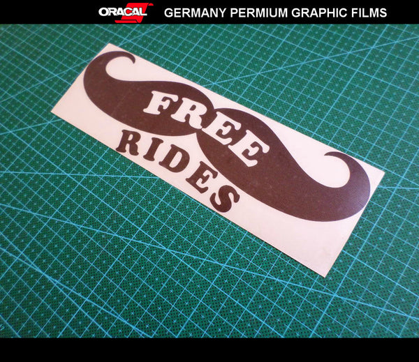 Moustache FREE RIDES JDM Party Function Night Club Car Decal Sticker