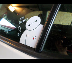 Funny Hungry Cute Baymax low battery Heros JDM Decal Car vinyl Sticker