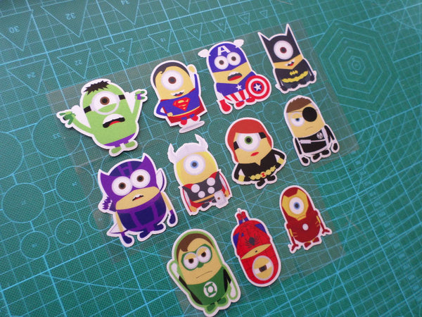 11 Pics Funny minions Marvel Superheros Reflective Car / notebook Decal