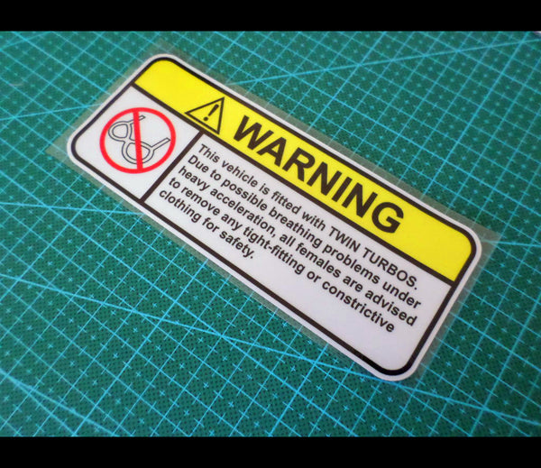 ! WARNING Females Safety NO BRA JDM UTE TRUCK Sign Reflective Decal Sticker