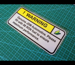 ! WARNING 98 RON feul Genuine JDM imported STi EVO Sign Reflective Decal Sticker