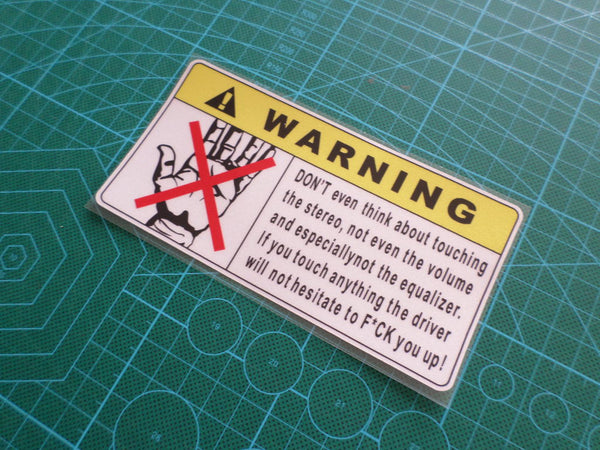 ! WARNING Don't touch JDM Off-Road 4x4 GTS HSV Sign Reflective Decal Sticker