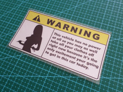 ! WARNING Hot Chick Sexy in the Car Ute Truck HSV JDM Reflective Decal Sticker