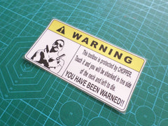 ! WARNING Toolbox Protected by CHOPPER ute truck Sign Reflective Decal