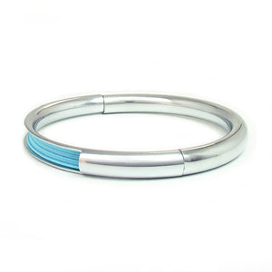 Push & Pull bracelet Chromed with elastic, light blue