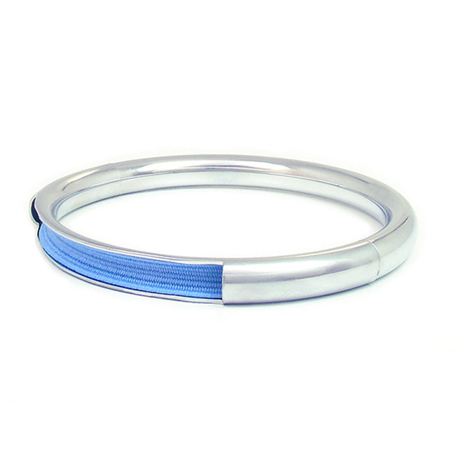 Push & Pull bracelet Chromed with elastic, blue sky