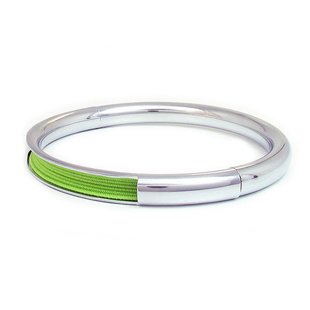 Push & Pull bracelet Chromed with elastic, light green