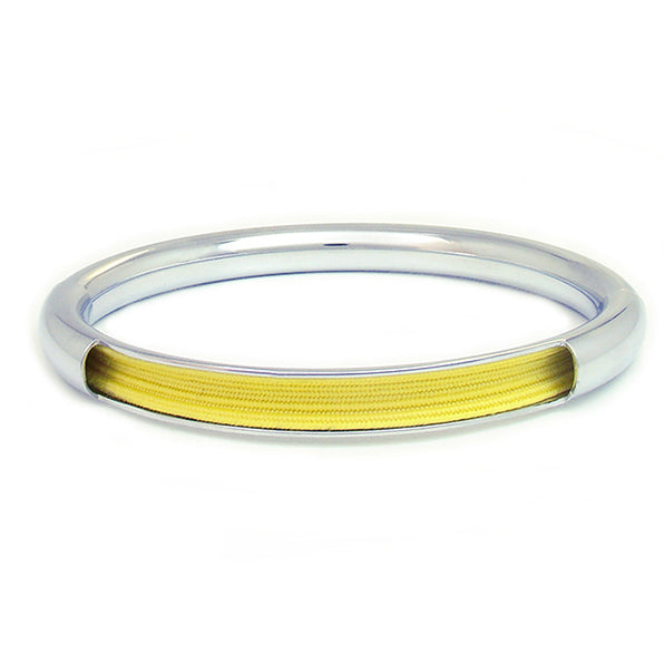 Push & Pull bracelet Chromed with elastic, yellow