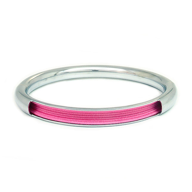 Push & Pull bracelet Chromed with elastic, pink