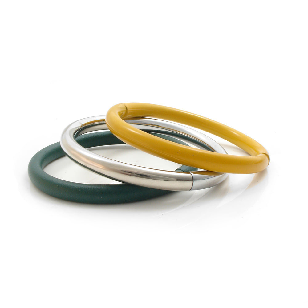 Push & Pull bracelet Thermocoated in dark green