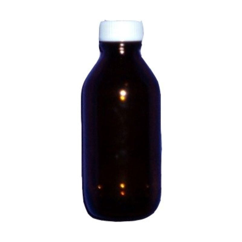 100mL amber bottle with white screw cap included