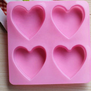 4 cavity heart silicone mould