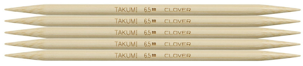 "Clover Takumi® 16cm (6"") Bamboo Double Pointed Needles - The Needle Store"