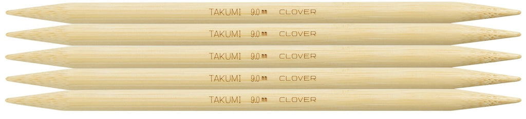 "Clover Takumi® 20cm (8"") Bamboo Double Pointed Needles - The Needle Store"