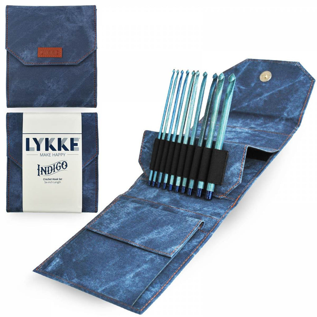 "LYKKE 15cm (6"") Crochet Hook Set - Indigo - The Needle Store"