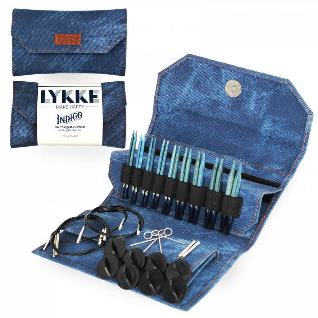 "LYKKE 9cm (3.5"") Interchangeable Needle Set - Indigo - The Needle Store"