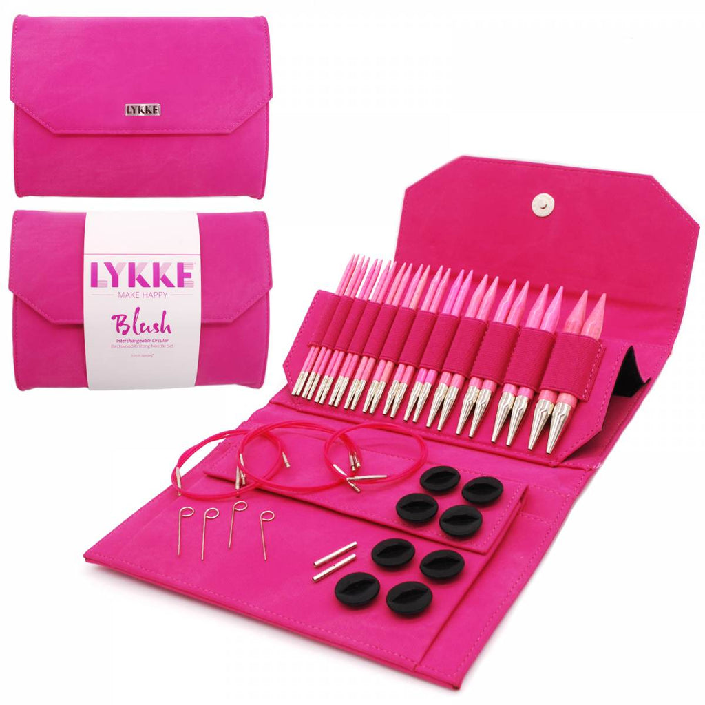 "LYKKE Blush 13cm (5"") Interchangeable Needle Set - Fuchsia Denim - The Needle Store"