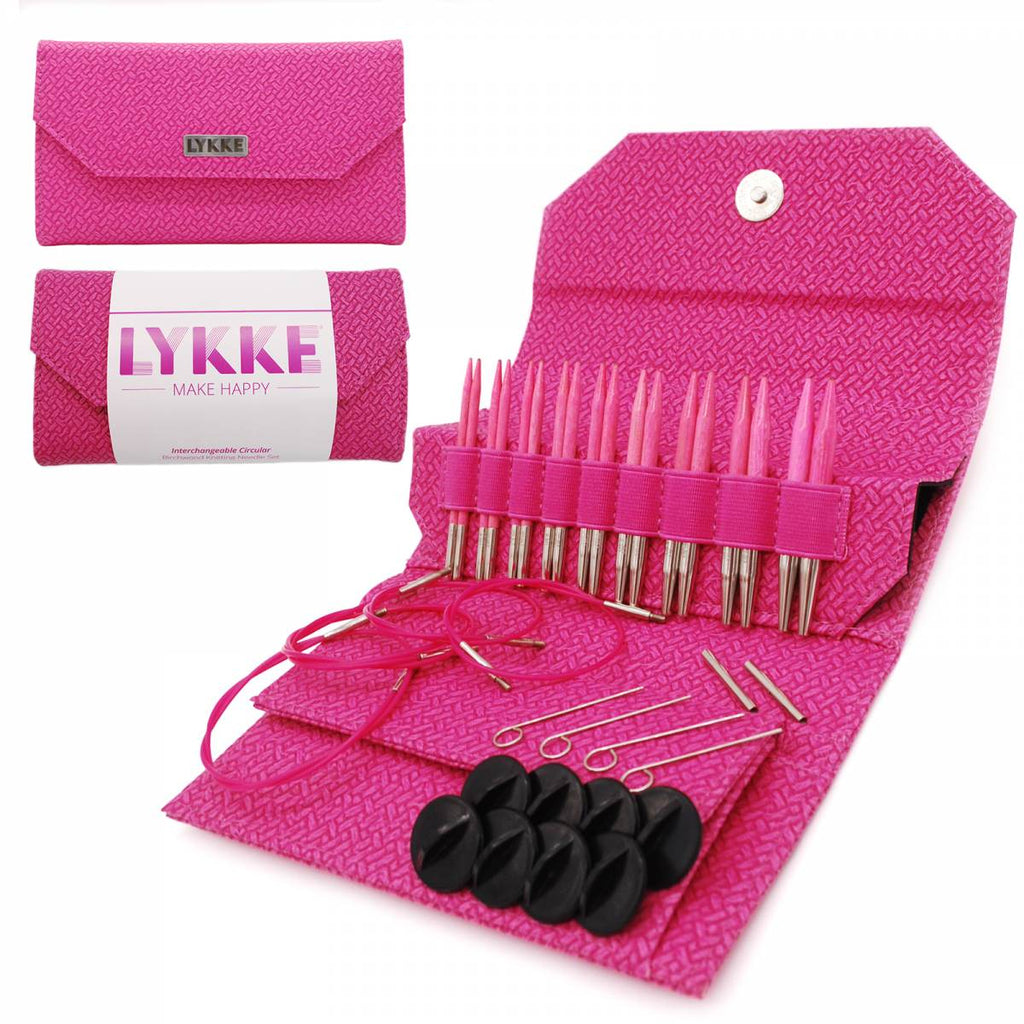 "LYKKE Blush 9cm (3.5"") Interchangeable Needle Set - Magenta Basketweave - The Needle Store"