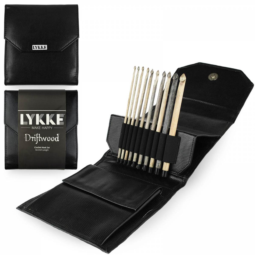 "LYKKE Driftwood 15cm (6"") Crochet Hook Set (Faux Leather Case) - The Needle Store"