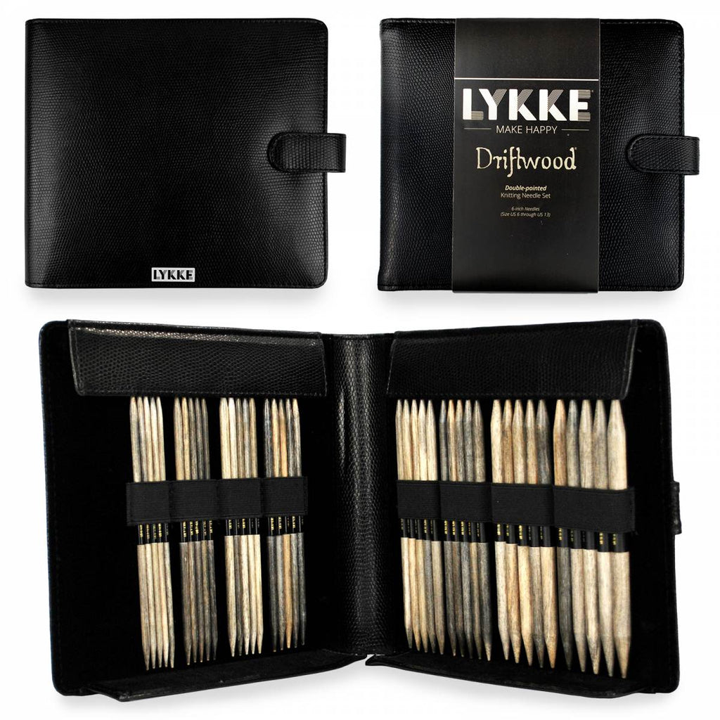 "LYKKE Driftwood 15cm (6"") Double Pointed Needle Set - Large (Faux Leather Case) - The Needle Store"