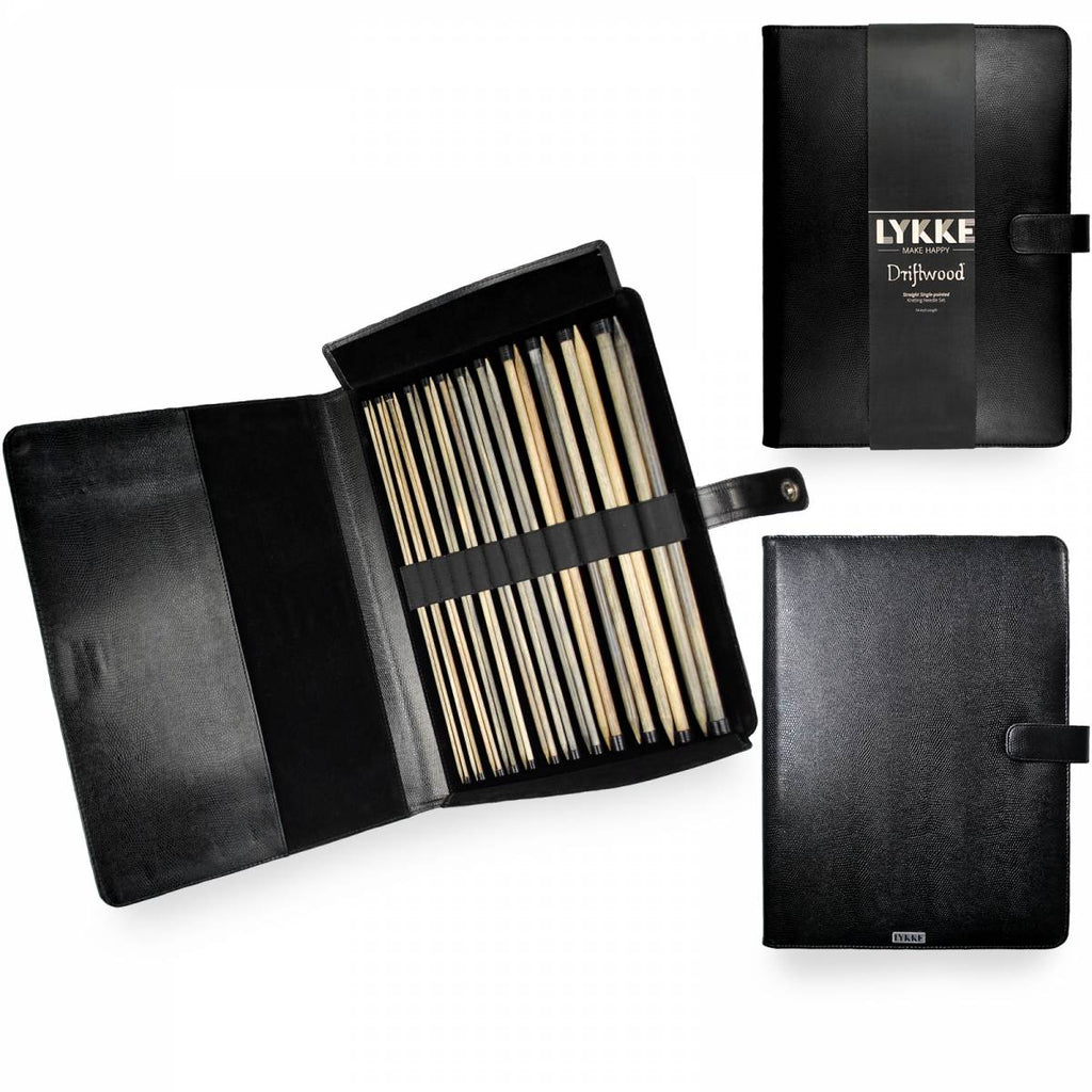 "LYKKE Driftwood 35cm (14"") Straight Needle Set (Faux Leather Case) - The Needle Store"