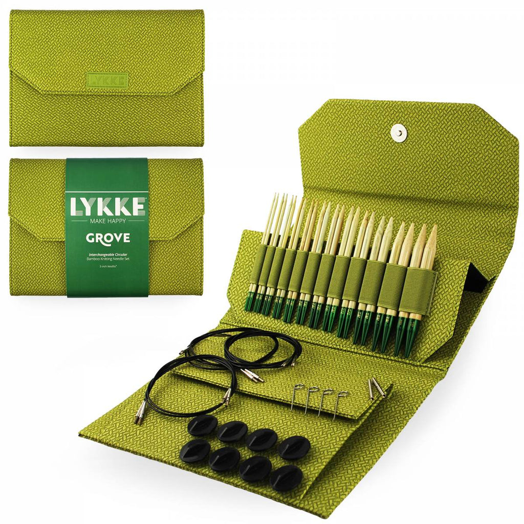 "LYKKE Grove 13cm (5"") Interchangeable Needle Set - Basketweave Case - The Needle Store"