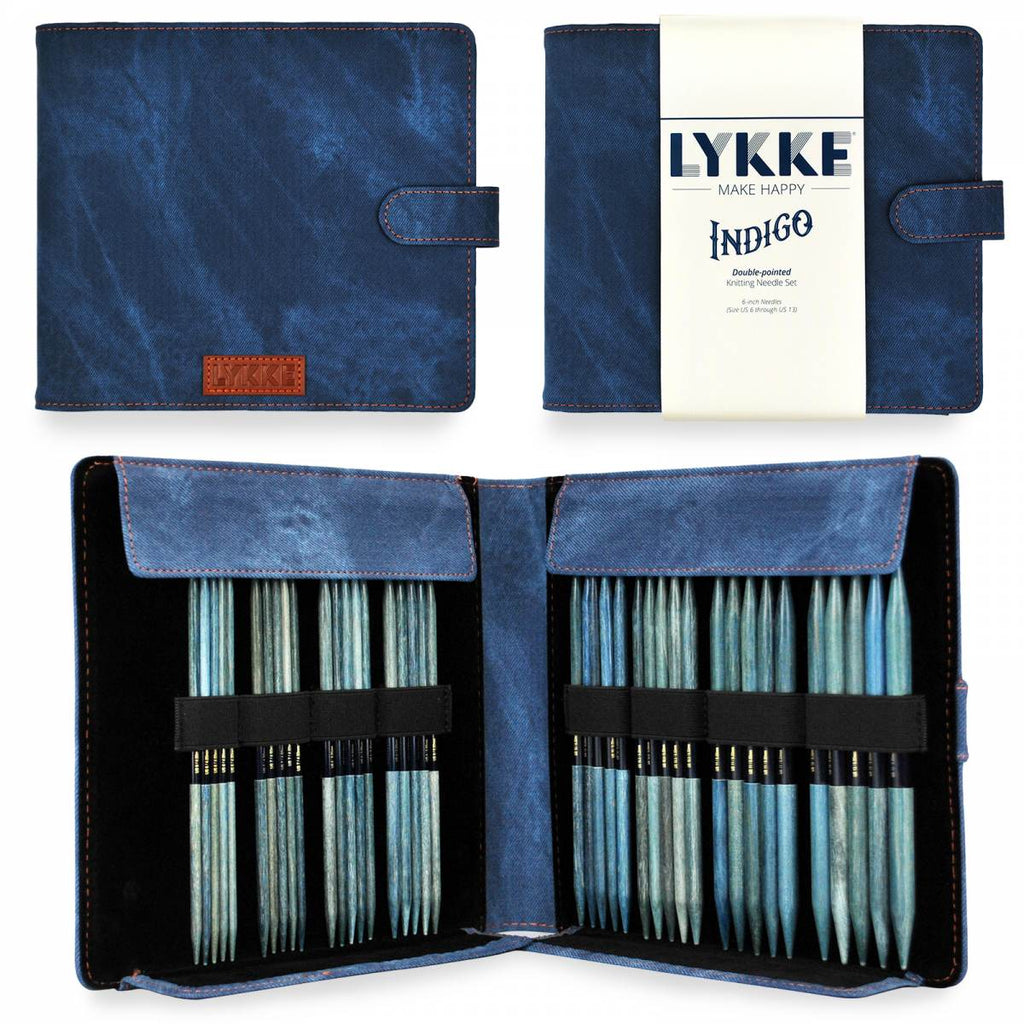 "LYKKE Indigo 15cm (6"") Double Pointed Needle Set - Large - The Needle Store"