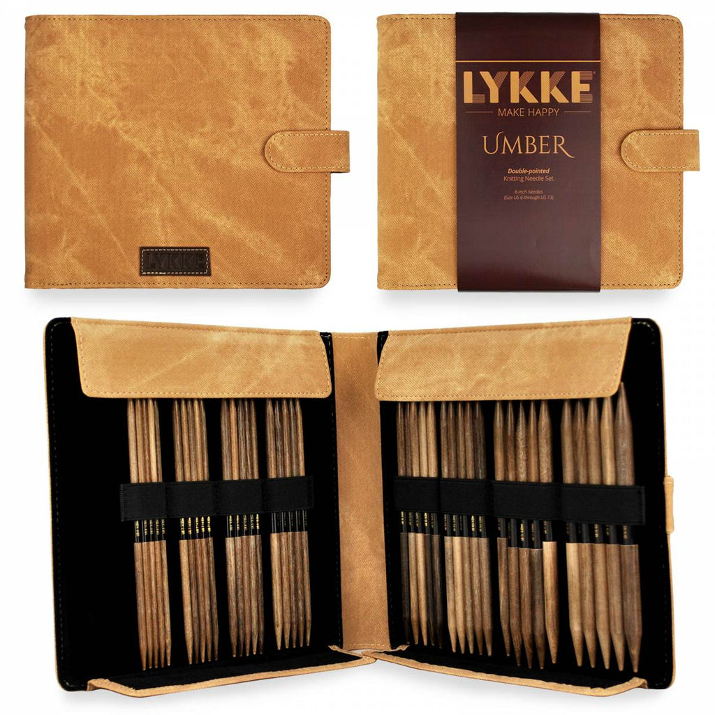 "LYKKE Umber 15cm (6"") Double Pointed Needle Set - Large - The Needle Store"