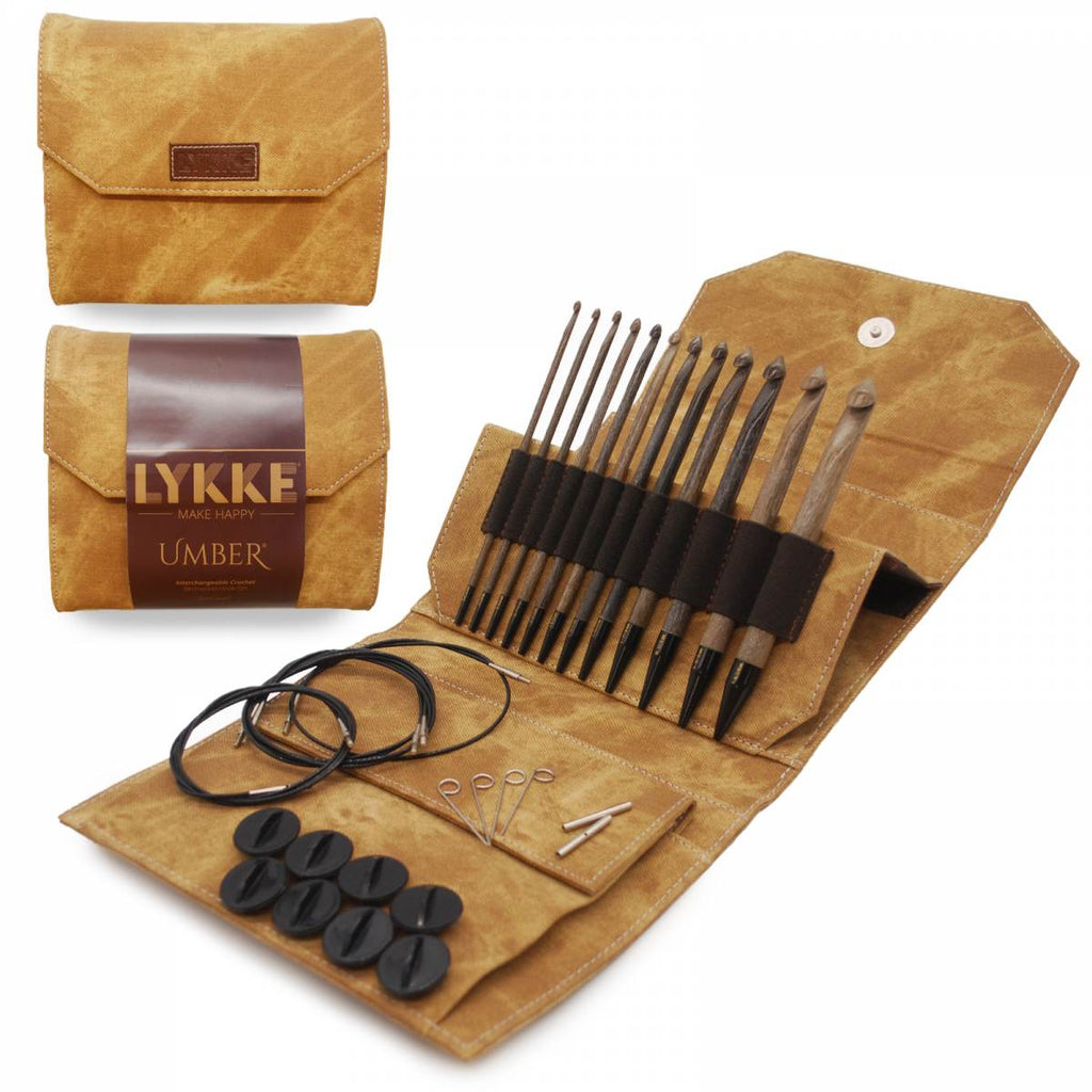 "LYKKE Umber 15cm (6"") Interchangeable Crochet Hook Set - The Needle Store"