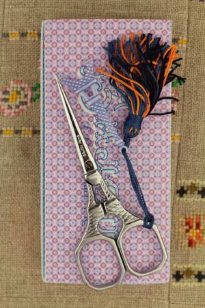 Sajou Tour Eiffel Chromed Embroidery Scissors with Blue Charm - The Needle Store