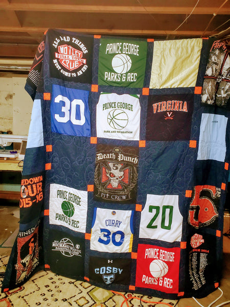 Addressing the Non-Stabilized, Double-Sided T-shirt Quilt Part 3: Lining up the front and the back