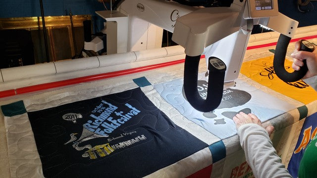 Keep Non-Stabilized T-Shirt Quilts Flat while Machine Quilting on a Frame (VIDEO)