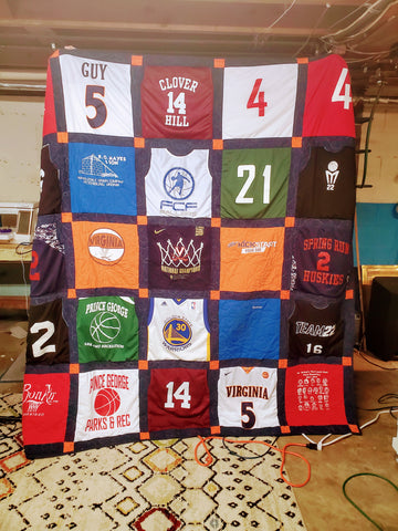 Photo of a t-shirt quilt.