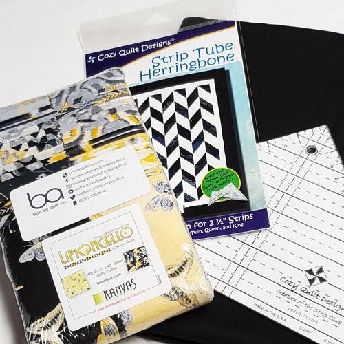 Lemoncello Throw―Cozy Quilts Strip Tube Herringbone Quilt Kit