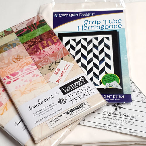 Posey―Strip Tube Herringbone Quilt Kit