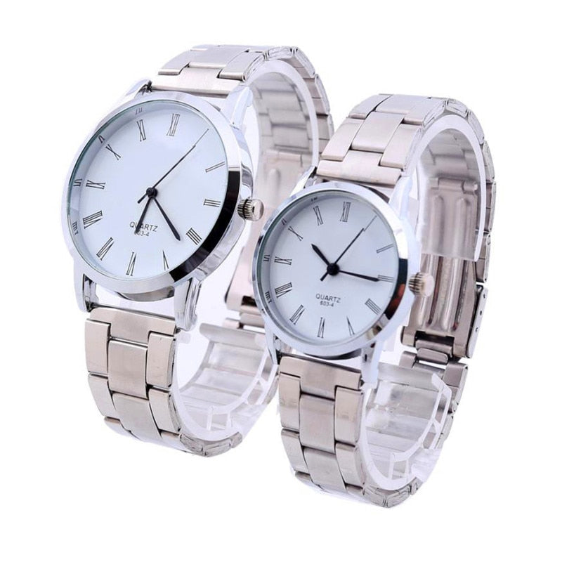 Couple Stainless Steel Analog Quartz Wrist Watch