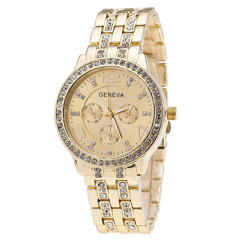Stainless Steel Round Gold Watches