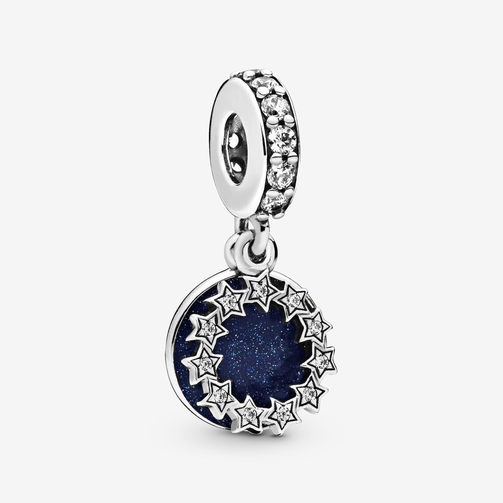 798433C01 Sterling silver dangle with clear cubic zirconia and shimmering blue enamel