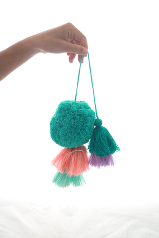 Pom Tassels- Teal and Pink