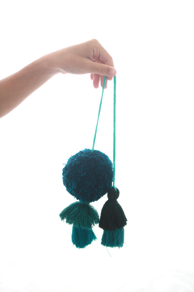 Pom Tassels- Teal and Blue