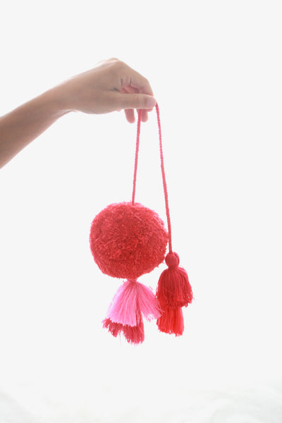 Pom Tassels- Pink and Bright Rose